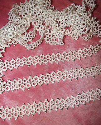 "5 yds Antique Vintage  Tatting Tatted Lace Trim Large Double Row White 1""wide"