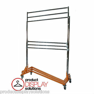 Adjustable Height Double Rail Commercial Grade Display Z Rack | Orange Base