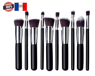 Kit De Pinceau Maquillage Professionnel 10PCS Noir Eyebrow Shadow BlueCookies