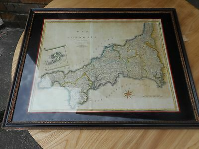antique print 1805 map of cornwall in excellent frame as seen. j cory engraving