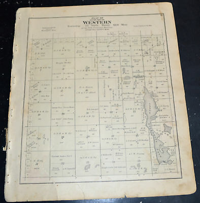 1884 OTTER TAIL COUNTY MAP MINNESOTA West Buse North and South Western Townships