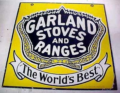 RARE Vintage GARLAND STOVES Double Sided Porcelain Sign - Heavy Iron