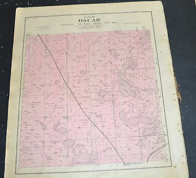 1884 OTTER TAIL COUNTY MAP MINNESOTA Carlisle and Oscar Townships