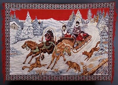 Large Antique Vintage Imperial Russian Tapestry / Rug / Carpet / Mural