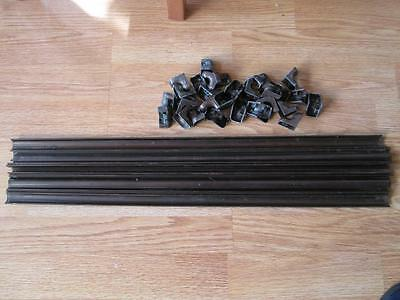 "17 x Original Victorian/Edwardian  Copperized Stair Rods & Fixings 24"" long"