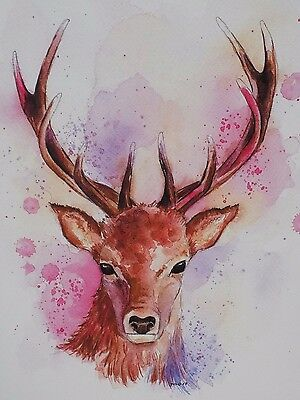 A4 Print Of Colourful Stag/Deer Watercolour Painting, Wildlife/Animal Art