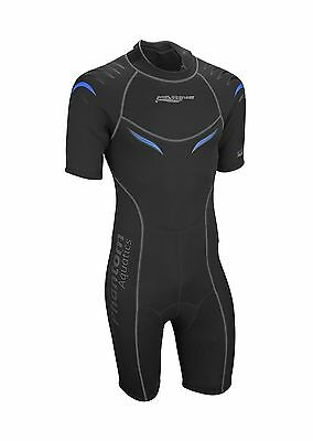 Phantom Aquatics Men's Marine Shorty Wetsuit Black/Blue Large