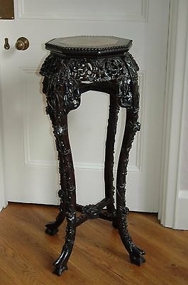 Antique Chinese Carved Hardwood Jardiniere Plant Stand With Marble Top