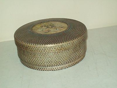 vintage Nabisco crackers Tin basket weave canister Victorian scene on lid