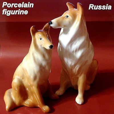 Collie Dogs porcelain figurines Souvenirs from Russia hand painted