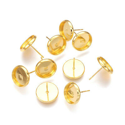 20PC Gold Tone Brass Cup Earring Posts Round Stud Findings Nickel Free 10mm Tray