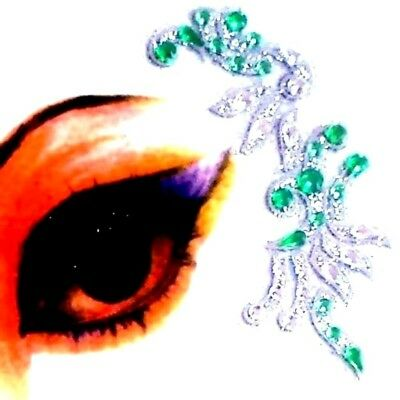 * Green + Green Combinations Eye Corner Face or Body Gems  4 Piece Stickers (A)