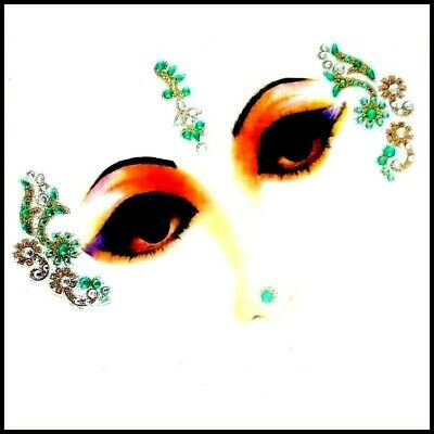^Green + Green Combinations Eye Corner Face or Body Gems  4 Piece (C)