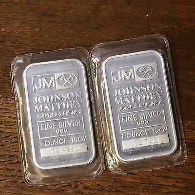 Johnson Matthey JM Silver 1oz Bars Consecutive Serial Number Mint Sealed Bullion