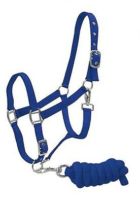 BLUE Horse Size Adjustable Nylon Halter W/ Matching Lead Rope! NEW HORSE TACK!