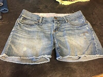 Women's Gap Maternity Boyfriend Distressed Embroidered Jean Shorts Size 2