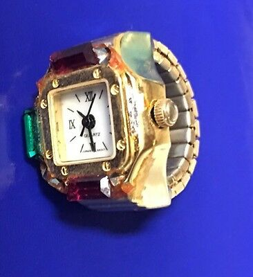 Vintage Honkong 7 M Ring Watch-Expandable Band with Gems  Japan movement