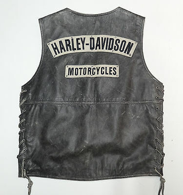 Harley Davidson Distressed Black Leather Burnout Vest Mens Small - Med  *nice 60