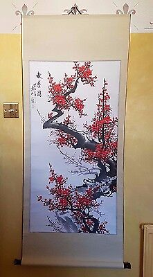 Large Vintage Oriental Chinese Wall Scroll - Red Blossom Flowering Tree