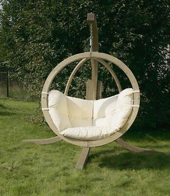 Modern, wooden swing chair, pod chair, seating with cushion, garden,Outdoor,