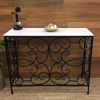 Manhattan Console Table Marble Top Side Desk Stand Hallway Metal Furniture