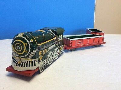 Adorable Vintage 1950's Courtland Walt Reach Wind Up Tin Litho Toy Train