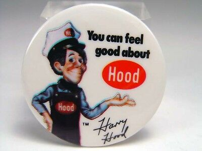 Vintage HARRY HOOD H.P. Hood Milk Dairy PHISH Pin Advertising Button *NR*