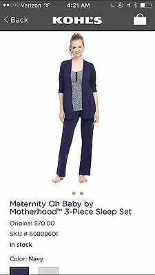 Maternity Oh Baby By Motherhood™ 3-Piece Sleep Set Navy Blue Large