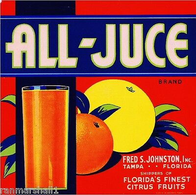 Tampa Florida All-Juce Orange Citrus Fruit Crate Label Art Print