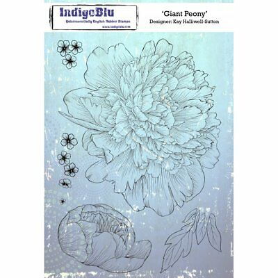 IndigoBlu Giant Peony A5 Red Rubber Stamp IND0157