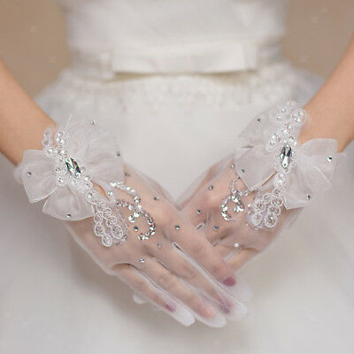Bridal Wedding White Lace Girls Tulle Short Hand Floral Gloves Party Gloves