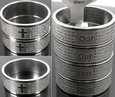 100pcs English Lord's Prayer Bible Rings Etched Stainless Steel Rings Wholesale