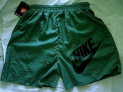 Vintage Unused W/ Tags Nike Big Logo Athletic Shorts Green M 90s running workout