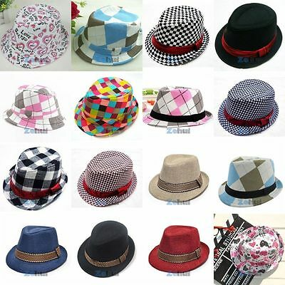 Fashion Kid Baby Girl Boy Fedora Hat Jazz Cap Anti Sun Photography Trilby Cap