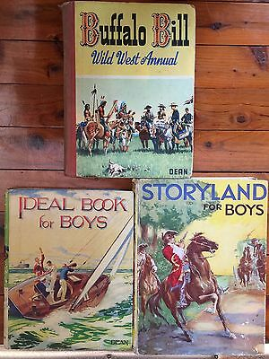 3 c1940s 50 boys buffalo bill wild west annual ideal book storyland for boys lot