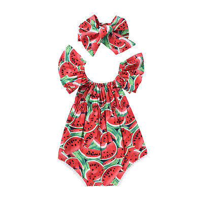 2017 Cute Newborn Baby Girls Watermelon Romper Bodysuit+Headband Clothes Sunsuit