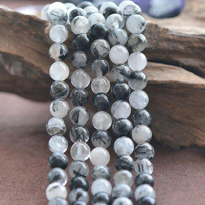 Natural Black Tourmaline Rutilated Quartz Round Gemstone Stone Loose Beads 15.5""