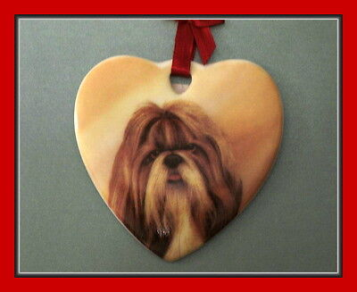 Precious Little Shih Tzu Ceramic Ornament With Red Ribbon Hanger - Adorable