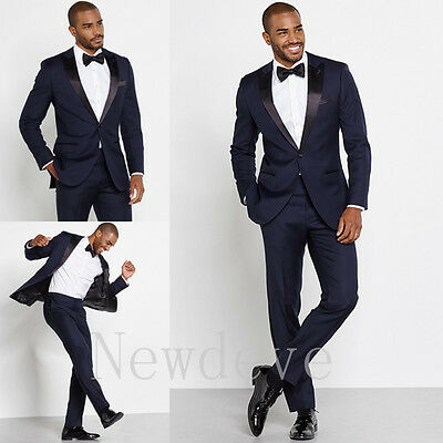 Blue Black 3 Pieces Men Suit Wedding Formal Groomsmen Tuxedo Bridegroom Suits