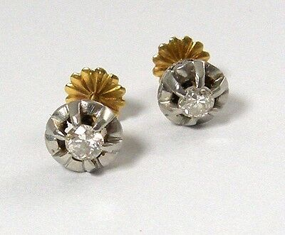 Gorgeous 18K Gold and Platinum Diamond Earrings Antique! 0.28 Ctw!! Color G!!