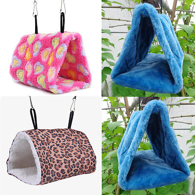 Plush Parrot Hammock Hanging Cave Cage Snuggle Nest Hut Tent Bed Bunk Bird Toy
