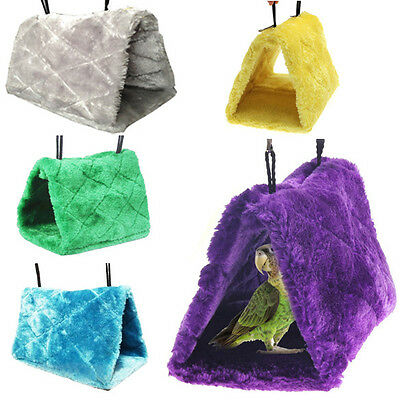 Plush Parrot Hammock Hanging Cave Cage Snuggle Shed Hut Tent Bed Bunk Bird Toys