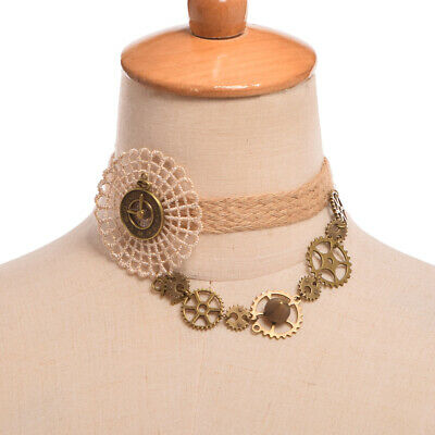 Steampunk Gear Rivet Party Wedding Necklace Victorian Gothic Lace Choker White