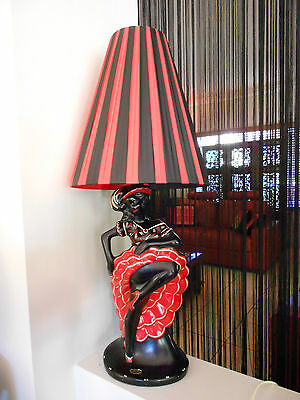 RED & BLACK PLASTIC RIBBON TALL CONE SHADE for BARSONY LAMP