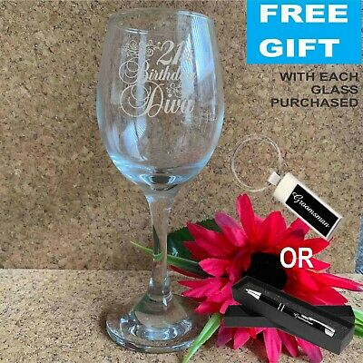 Personalised Engraved 250ml Wine Glass Birthday Gift 21st 30th 40th 50th Present