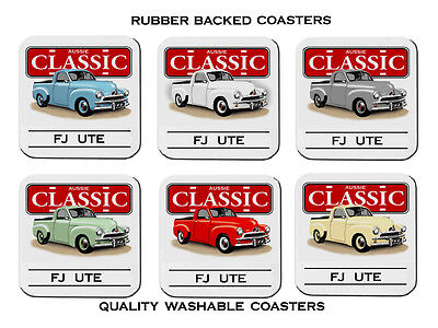 Holden  Fj  Ute        Set Of  6   Rubber Drink  Coasters