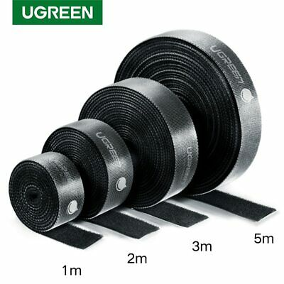 Ugreen Hook and Loop Tape Strap Cable Tie Fastener Self Adhesive Roll Wrap Black