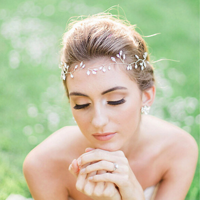 Wedding Bridal Headband Hair Piece Wedding Pearl Vine Rhinestones Handmade New