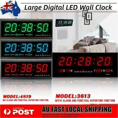 Digital Large Big Jumbo LED Wall Alarm Clock + Calendar Temperature 3613/4819 AU