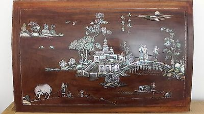 Vietnamese  Chinese Rosewood Mother Of Pearl Inlaid  Panel. Tray. China